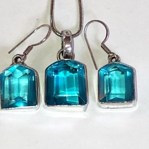 Sterling Silver Blue Glass Earrings and Necklace